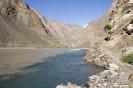 Bartang vallei - Bartang rivier en Gizev rivier vloeien samen